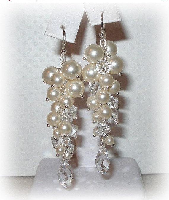 Column Earrings Ivory Bridal Earring Wedding Bridesmaids Crystal Pearl